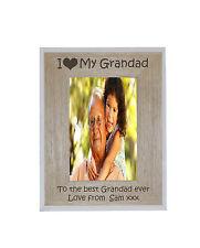 I heart-love My Grandad 5 x 7 Photo Frame White Edge Wood Frame - free engrave