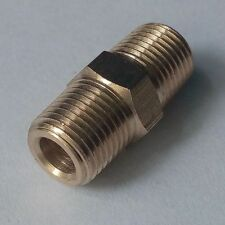 "Brass Pipe Fitting Hex Nipple Equal 1/4"" Male NPT For Air Fuel Water"
