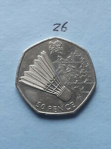 50p coin olympic Badminton