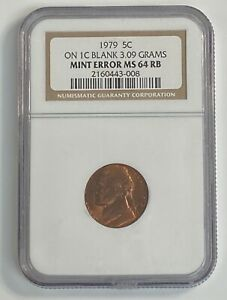 1979 Jefferson Nickel Five Cent 5c Coin on Copper Penny Planchet NGC MS64 RB