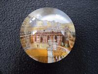 Antique Victorian Souvenir Glass Paperweight - Brighton Aquarium Exterior c1870
