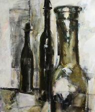 Still Life with bottles modernist oil painting