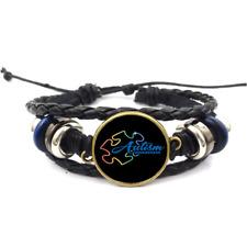 Autism Awareness Puzzle Glass Cabochon Bracelets Braided Leather Strap Bracelet