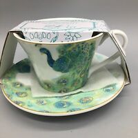 222 Fifth Lakshmi Peacock Tea Cup Saucer Set Teacup Garden Teal Green NEW
