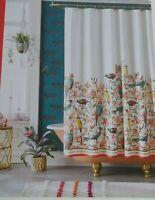 Opalhouse Fabric Shower Curtain Floral Tropical Bird Colorful Paradise NWT