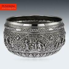 More details for antique 19thc burmese solid silver hand crafted bowl c.1880