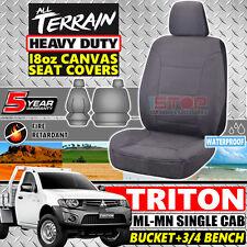 MITSUBISHI TRITON ML-MN SINGLE CAB GREY 18oz CANVAS SEAT COVERS 07/2006-04/2015