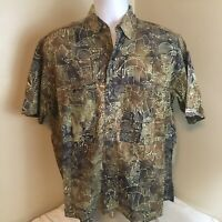 Key West Fashions Hand Print Mens Hawaiian Shirt Aloha Camp Medium 100% Cotton