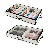 Under the Bed Shoe Organizer Fits 16 Pairs + 4 Pairs Boots for Underbed Storage