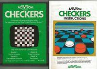 ORIGINAL Vintage 1980 Atari 2600 Checkers Game Cartridge + Manual