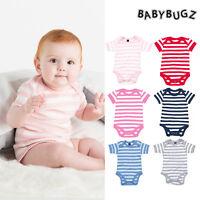 BabyBugz Baby Stripe Bodysuit BZ10S Toddler/Boy/Girl babygrow Short Sleeve 0-12m