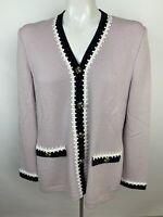 St John Collection by Marie Gray Santana Knit Lilac Purple V-Neck Sweater Sz 6