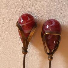 2 x Antique Burgundy swirled Glass Hatpins