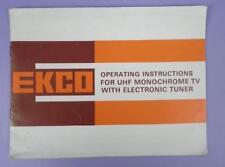 Original Instructions For Pye EKCO UHF Monochrome TV Set