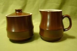 VTG Stoneware Creamer & Covered Sugar Rustic Brown Made In Japan