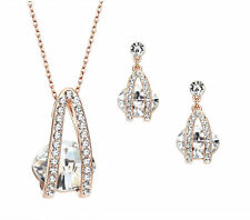 Austrian Crystals White & Gold Necklace Earrings Wedding Bridal Jewellery Set