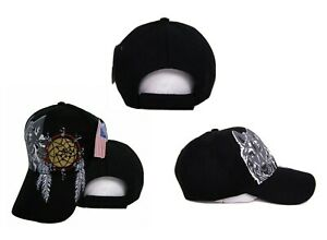 Native Pride American Dreamcatcher Wolf Shadow Indian Embroidered Cap Hat