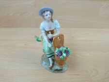 Vintage Sitzendorf Figure of Girl with Wicket Basket Grapes Lady