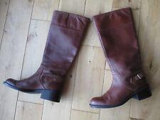 Smart MARKS & SPENCER Ladies Brown Leather Knee High Flat Boots 4 UK - 37 EU