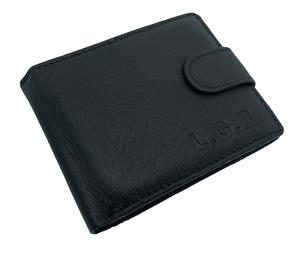 Cartera Billetera de Piel Autentica Cuero Hombre con Monedero L18009 Negro