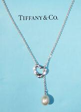 Tiffany & Co Elsa Peretti Silver Open Heart LARGE White Pearl Lariat Necklace