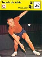 FICHE CARD: Hans Alser Suède Sweden Pongiste Ping-pong TENNIS de table 1970s