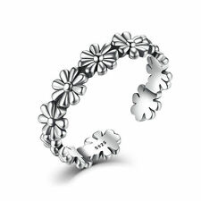 Solid 925 Sterling Silver Pure Silver Open Floral Adjustable Open Cuff Ring