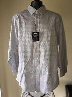 Kirkland Signature Men's Tailored Fit Non-Iron Dress Shirt - Black Plaid, Large