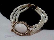 Vintage Gold 1928 Multi Strand Pearl Seed Bead Pink Blush Cab Bridal Bracelet