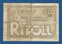 CONSELL MUNICIPAL DE RIPOLL -- 50 CENTIMOS ( 1937 ) -- MBC- -- 2ª EMISION .