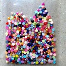 400pcs x 3D Nail Art Mixed Colours '4mm Round Pearls' Flat Back Gems Craft Mix