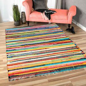 Home Recycle Mat Handmade Cotton Multi Coloured Chindi Rag Area Rug Floor Mat