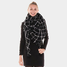 New Women Oversized Plaid Blanket Scarf Wrap Pashmina Shawl S1021 Black/Taupe