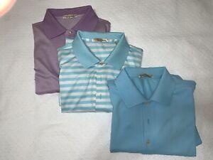 Lot of 3  Peter Millar Men's Size Medium Golf Polo Shirts Logo