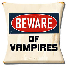 "NEW 'BEWARE OF VAMPIRES' HALLOWEEN OLD MOTTLED FINISH 16"" Pillow Cushion Cover"
