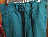 27x32 FIT True Vtg 70s FOREST GREEN HIPPY FLAP POCKET BELLBOTTOM jeans Pants
