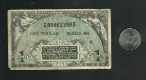 """* MPC Military Payment Certificate Series 481, $1 Dollar Note, """"Good"""""""
