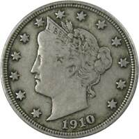 1910 5c Liberty Head V Nickel US Coin F Fine