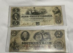 Two Old Notes $2 Southern Bank Of Georgia, $5 Bank Of The Valley Virginia