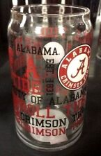 Alabama Crimson Tide 16oz NCAA Fan Spirit Grafitti Drinking Glass Can