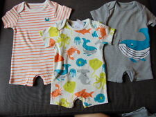 M&S Set of 3 Cotton 'Sea Creatures' Shorts Playsuit Romper 3-6m 69cm Multi BNWT