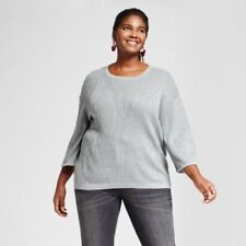 NEW Plus Size X 3/4 Sleeve Silver Christmas Pullover Ava & Viv Sweater Top