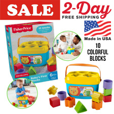 Fisher-Price Baby's First Blocks Shapes Sizes Sorter Plastic with Storage Bucket