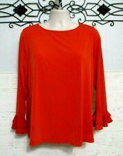 Susan Graver Knit Top Size 1X Orange 3/4 Sleeved Round Neck Blouse Shirt