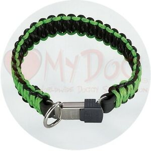 Herm Sprenger Black and Green Reflecting Paracord Dog Collar