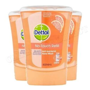 3 x Dettol No Touch Refill 250ml Orange Grapefruit UK LIMITED STOCK 2023 EXPIRY