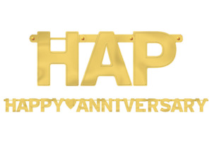 Golden Happy Anniversary Letter Banner ~ Anniversary Party Hanging Decorations