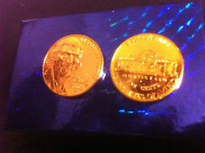 24 k gold plated-1 nickel Genuine Pure 24 K 7 mils Gold layered USA  5 cent