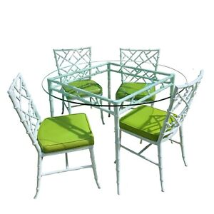 Phyllis Morris Faux Bamboo Dining set Hollywood Regency Kessler Chairs Fretwork
