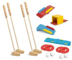 Wooden Crazy Golf Garden Game Set 4 Player Clubs & Balls 4x Holes Obstacles 1661